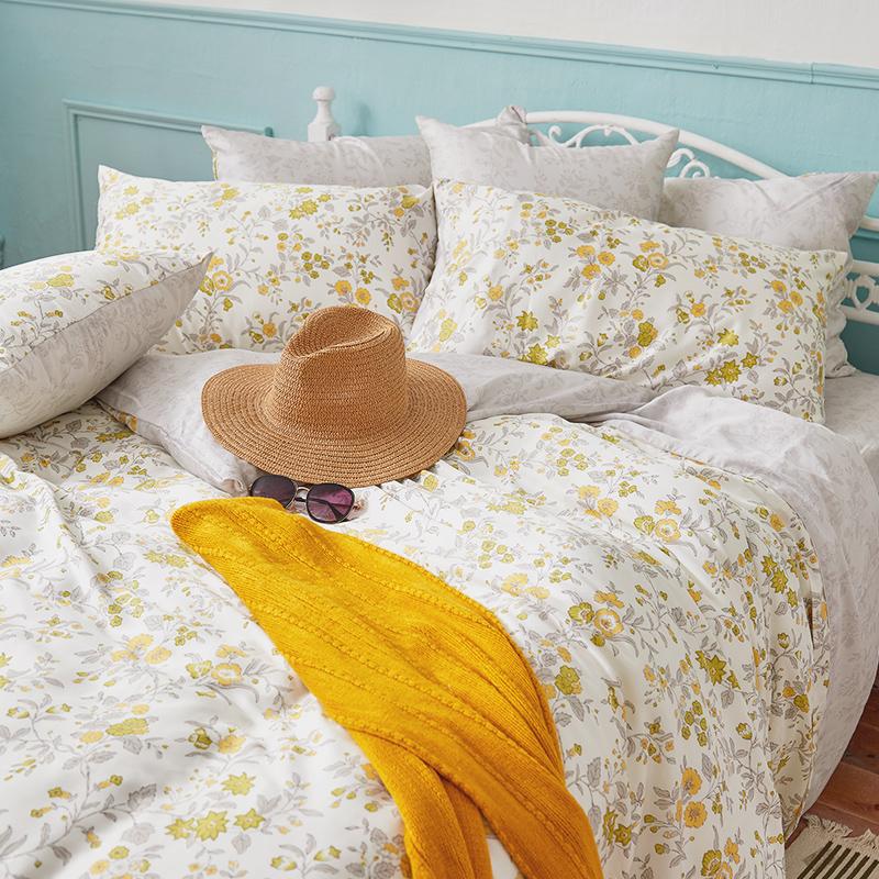 床包/雙人加大【南法蝶花】60支天絲雙人加大床包含二件枕套