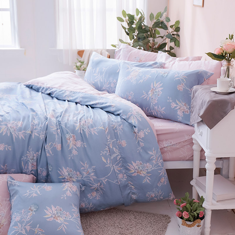 床包/雙人加大【綠葉扶花】60支天絲雙人加大床包含二件枕套