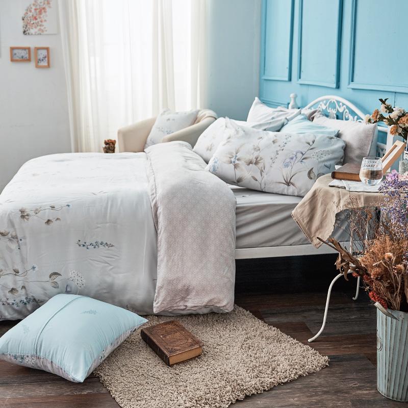 床包/雙人加大【微月遠蝶】60支天絲雙人加大床包含兩件枕套