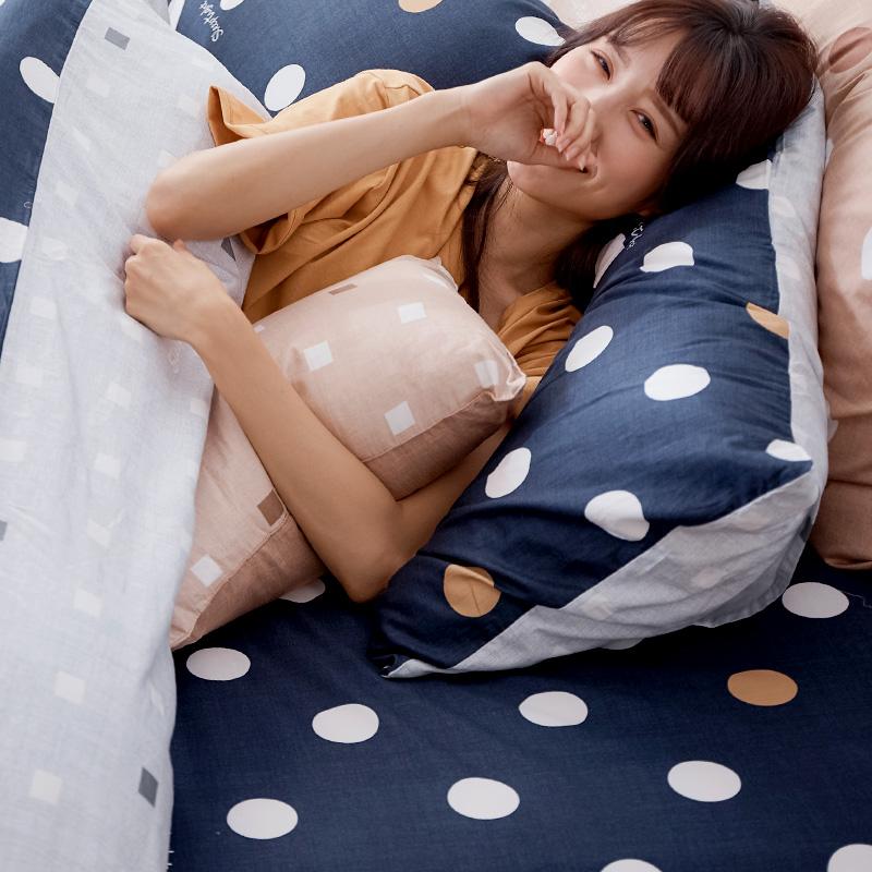 床包/雙人加大【點點小宇宙冥王星藍】100%精梳棉雙人加大床包含二件枕套