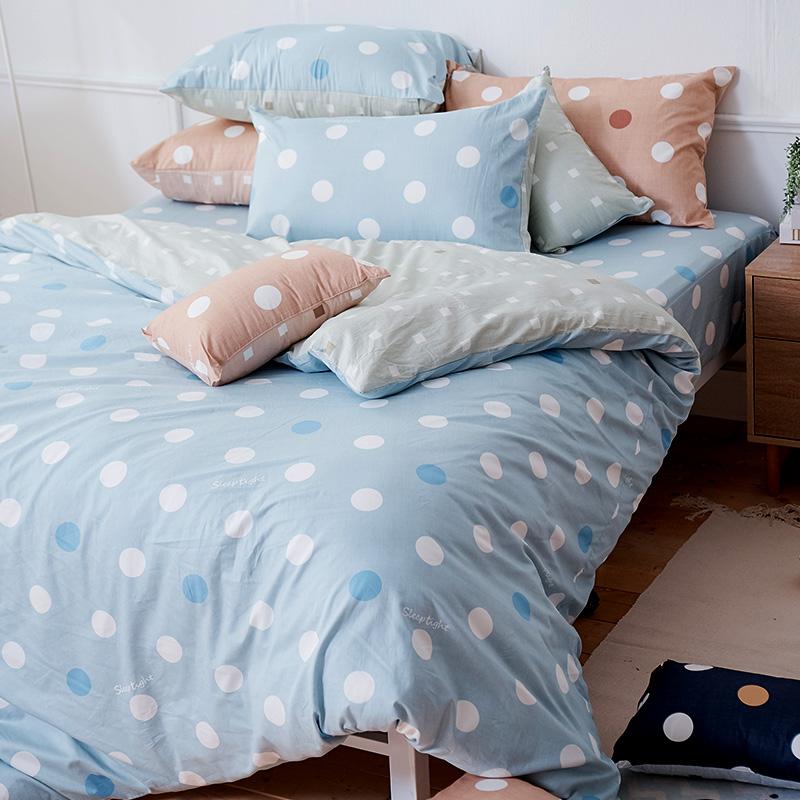 床包/雙人加大【點點小宇宙水星藍】100%精梳棉雙人加大床包含兩件枕套
