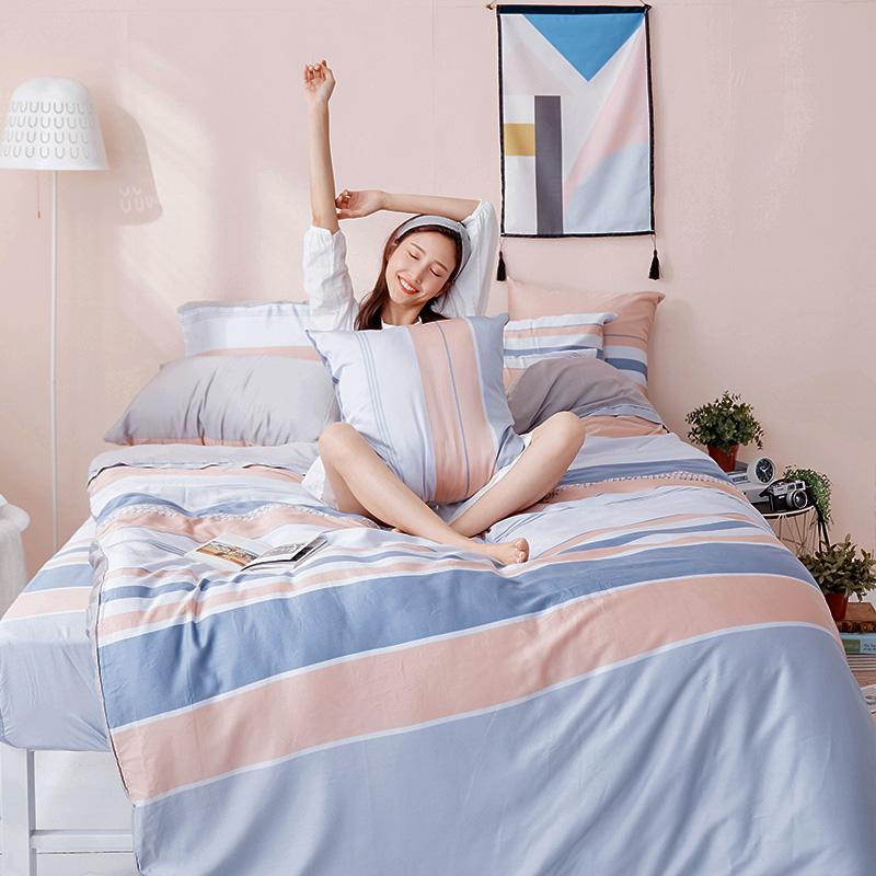 床包/雙人加大【莫藍序曲】60支天絲雙人加大床包含二件枕套