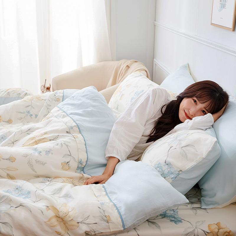 床包/雙人加大【恬淡花晴】40支天絲雙人加大床包含二件枕套