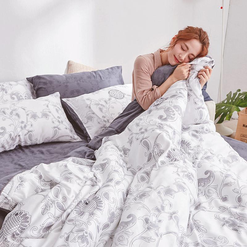 床包/雙人加大【詩人】60支天絲雙人加大床包含二件枕套