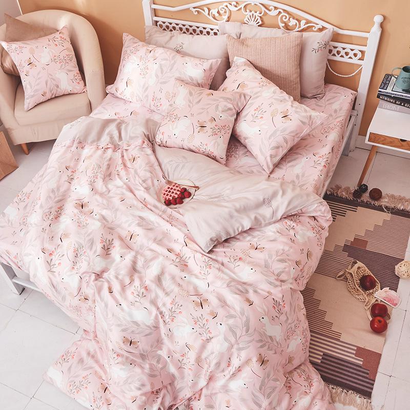 床包/雙人加大【莓樂兔】60支天絲雙人加大床包含二件枕套