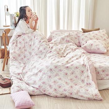 床包/雙人加大【花花格格】100%精梳棉雙人加大床包含二件枕套