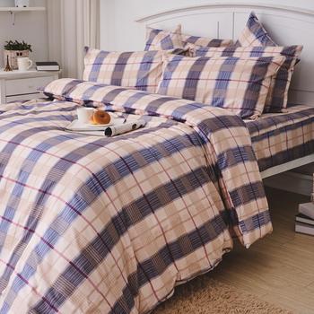 床包/雙人加大【伯利格紋】100%精梳棉雙人加大床包含兩件枕套