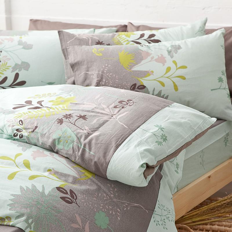床包/雙人特大【香草綠】100%純棉雙人特大床包含兩件枕套