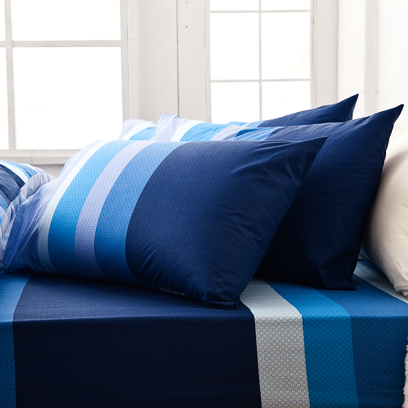 床包/雙人特大【海水藍】100%純棉雙人特大床包含兩件枕套