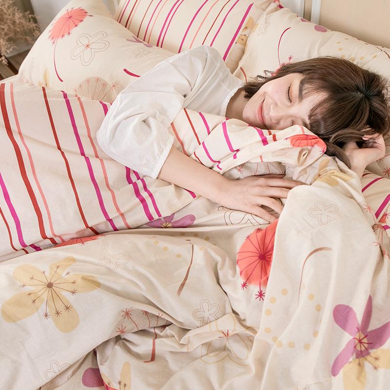 床包/雙人特大【輕盈粉】100%純棉雙人特大床包含兩件枕套