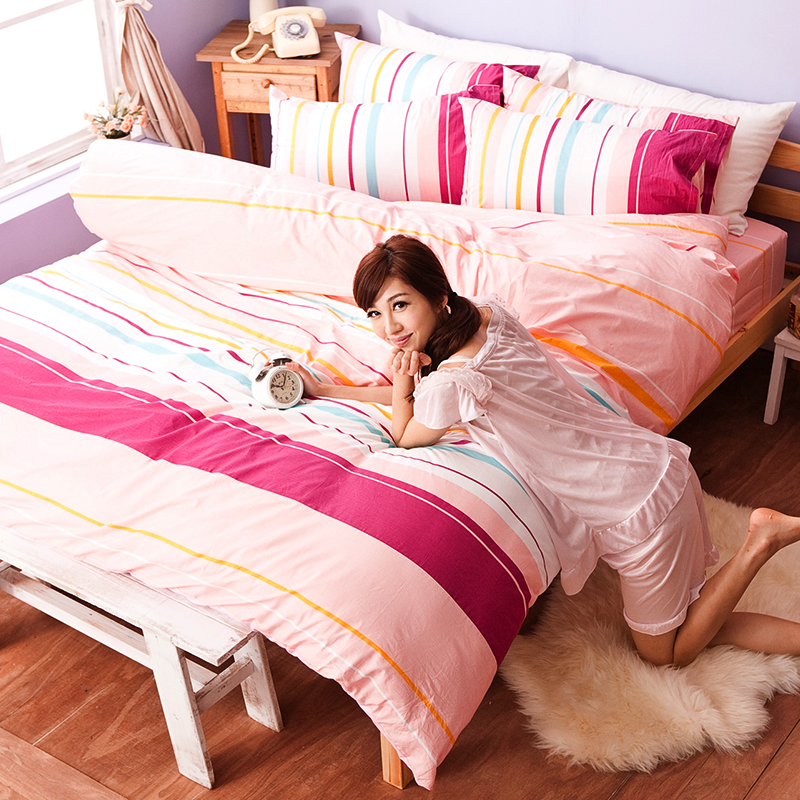 床包/雙人特大【繽紛特調粉】100%純棉雙人特大床包含兩件枕套