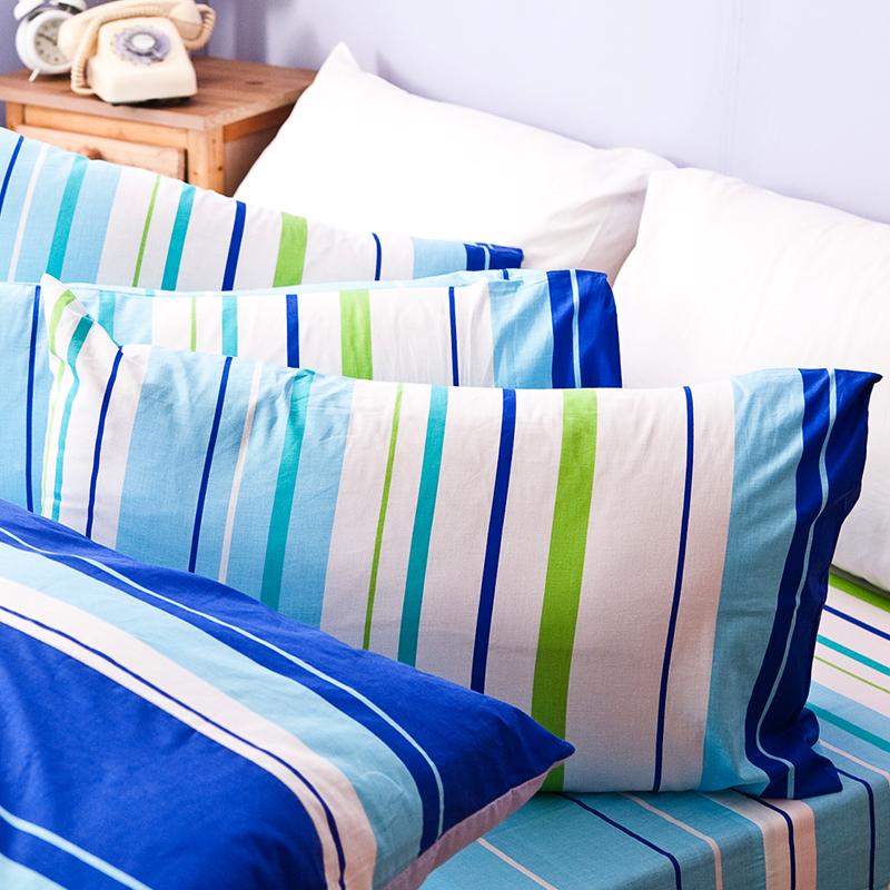 床包/雙人特大【繽紛特調藍】100%純棉雙人特大床包含兩件枕套