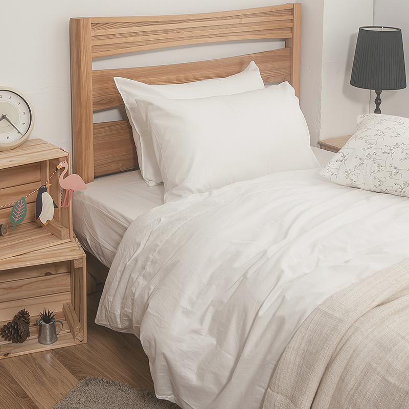 床包/雙人特大【簡單生活系列-白】100%精梳棉雙人特大床包含兩件枕套