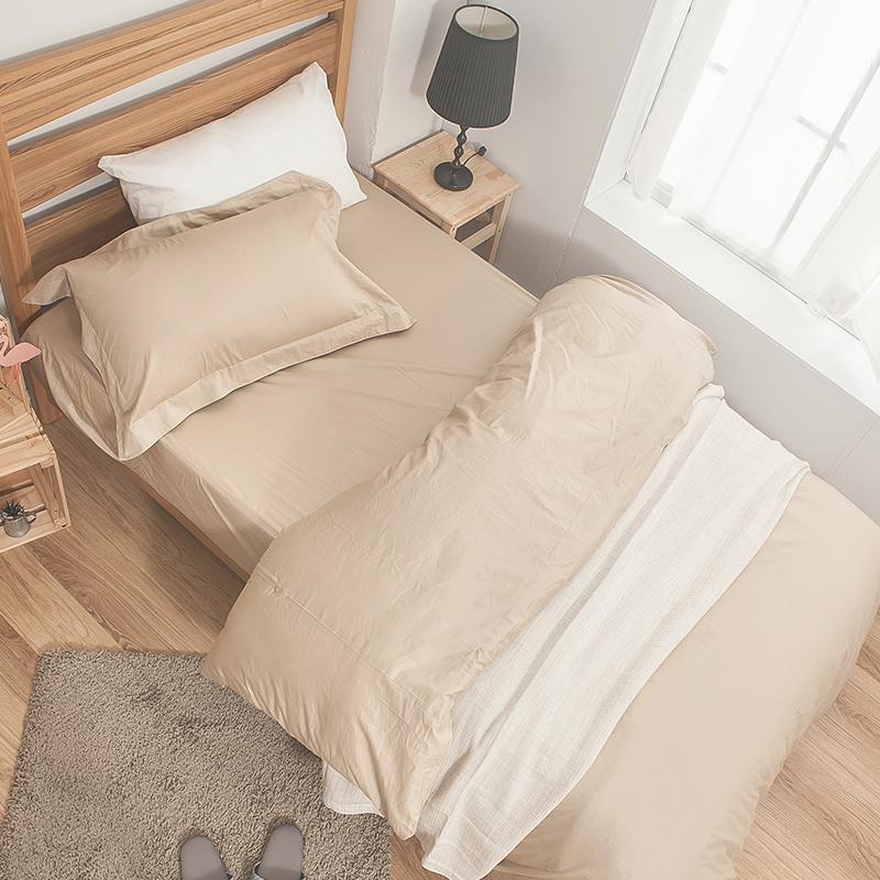 床包/雙人特大【簡單生活系列-米】100%精梳棉雙人特大床包含兩件枕套
