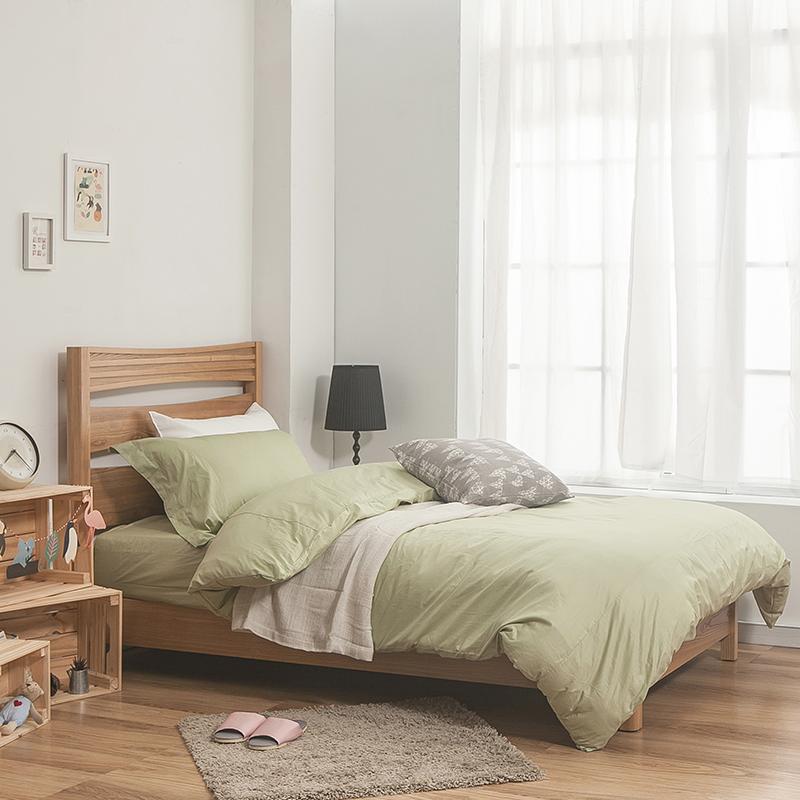 床包/雙人特大【簡單生活系列-果綠】100%精梳棉雙人特大床包含兩件枕套