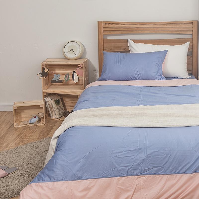 床包/雙人特大【簡單生活系列-藍粉】100%精梳棉雙人特大床包含兩件枕套