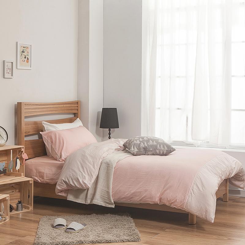床包/雙人特大【簡單生活系列-雙粉】100%精梳棉雙人特大床包含兩件枕套