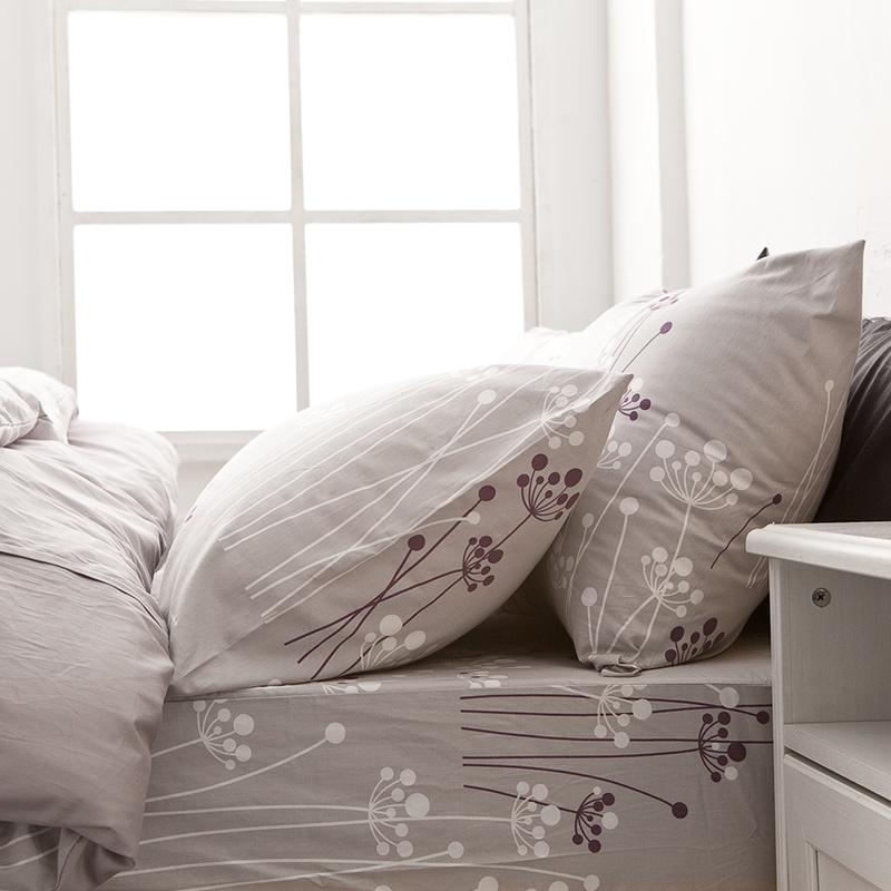 床包/雙人特大【蒲公英之曲】100%精梳棉雙人特大床包含兩件枕套