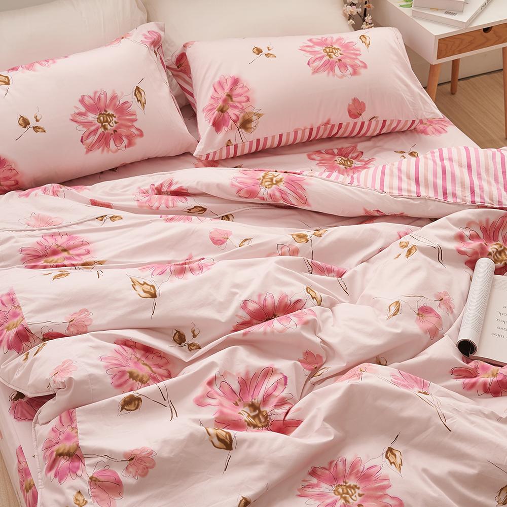 床包/雙人特大【純愛花語】100%精梳棉雙人特大床包含兩件枕套