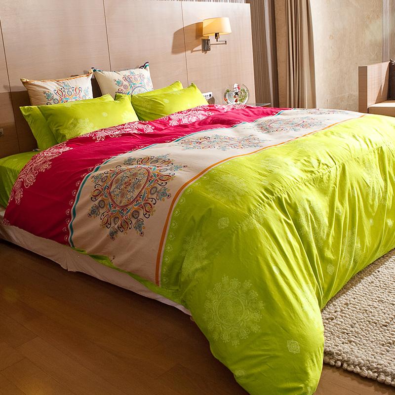 床包/雙人特大【虹舞‧妍】100%精梳棉雙人特大床包含兩件枕套