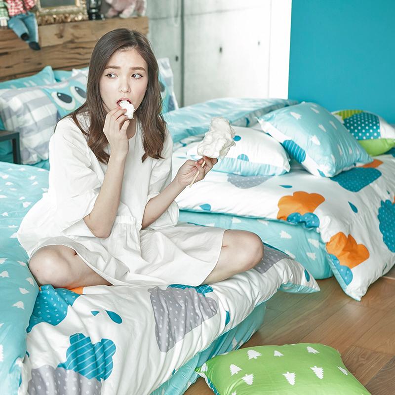 床包/雙人特大【遇見朵朵藍】100%精梳棉雙人特大床包含兩件枕套
