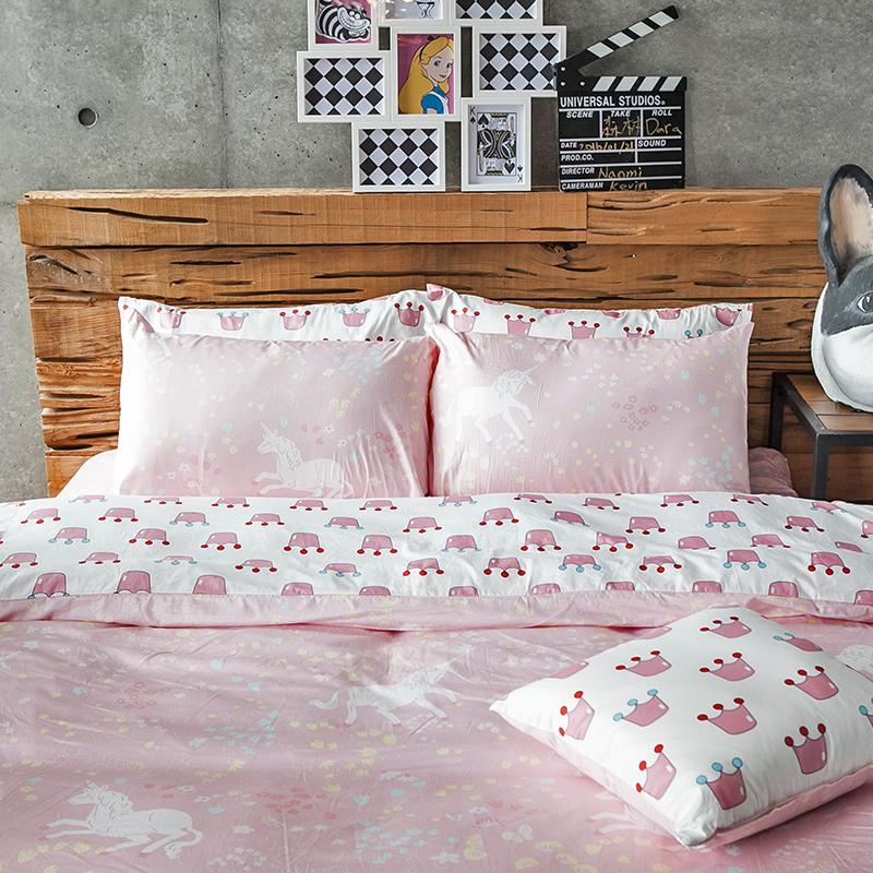 床包/雙人特大【尋找夢奇地粉】100%精梳棉雙人特大床包含兩件枕套