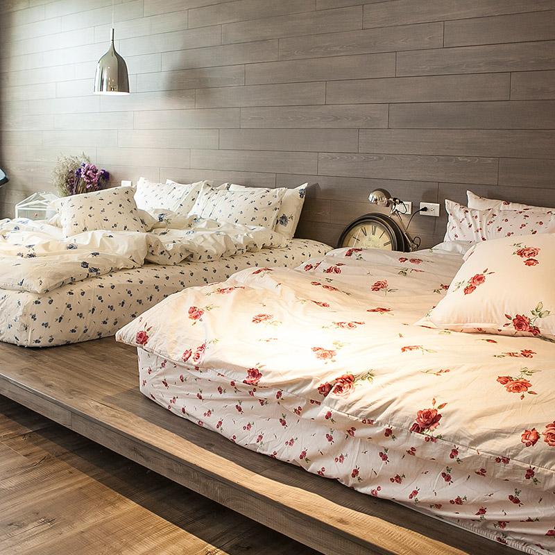 床包/雙人特大【玫果雪酪粉】100%精梳棉雙人特大床包含兩件枕套