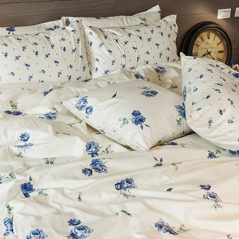 床包/雙人特大【玫果雪酪藍】100%精梳棉雙人特大床包含兩件枕套