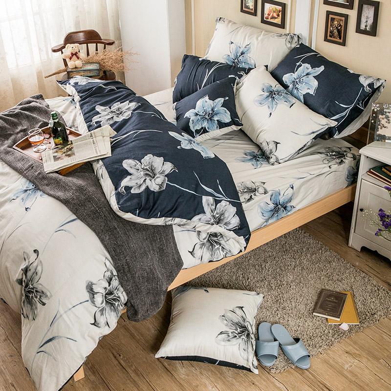 床包/雙人特大【漫漫花徑】100%精梳棉雙人特大床包含兩件枕套