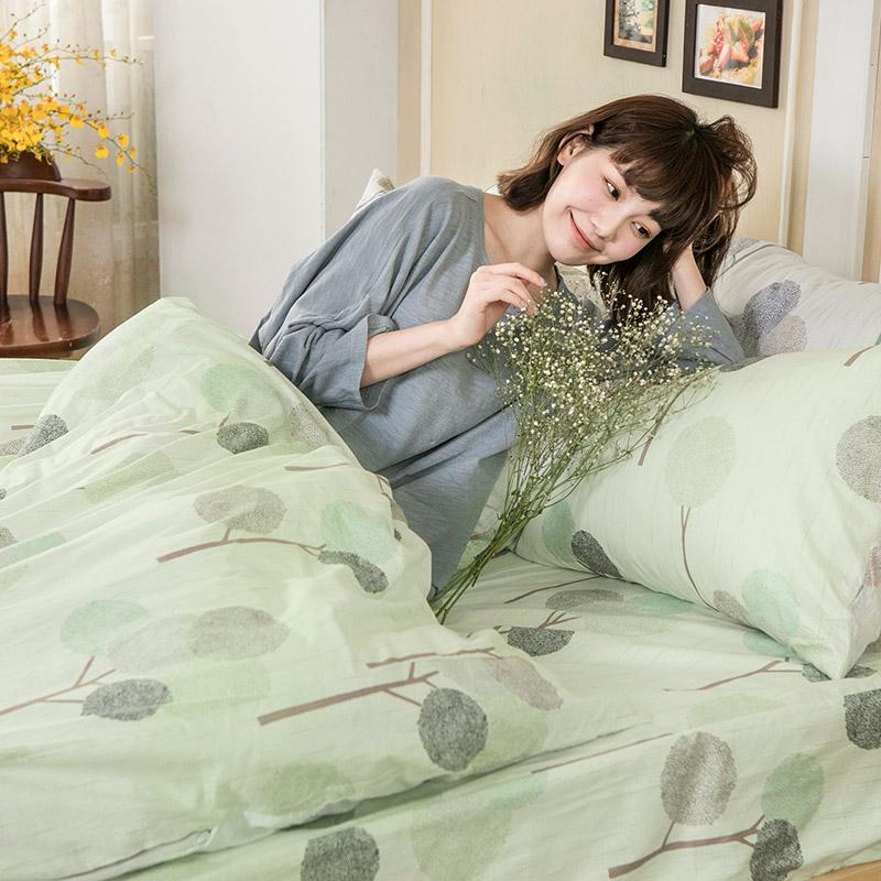床包/雙人特大【晨曦之柏】100%精梳棉雙人特大床包含兩件枕套