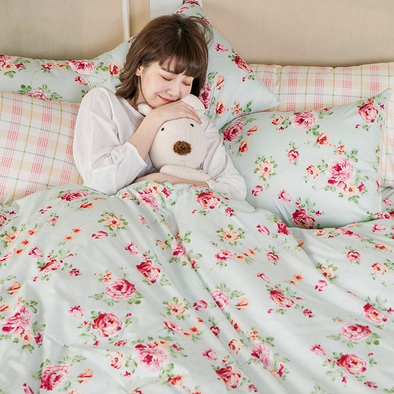 床包/雙人特大【玫瑰粉格】100%精梳棉雙人特大床包含兩件枕套