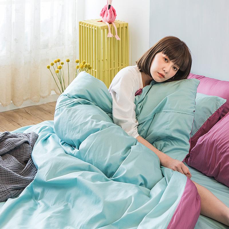 床包/雙人特大【撞色系列-水水綠】100%精梳棉雙人特大床包含兩件枕套