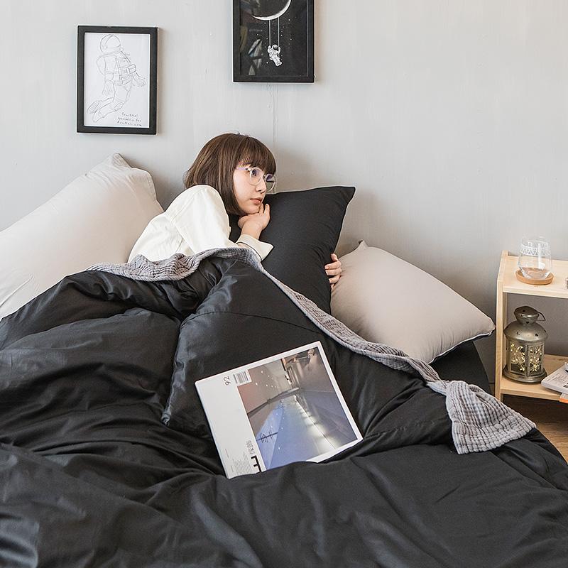 床包/雙人特大【撞色系列-夜空黑】100%精梳棉雙人特大床包含兩件枕套