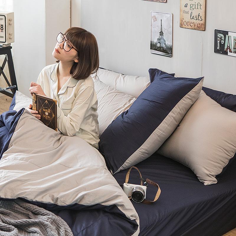 床包/雙人特大【撞色系列-紳士藍】100%精梳棉雙人特大床包含兩件枕套