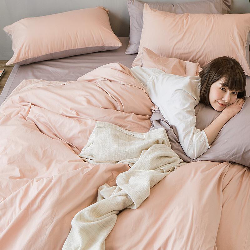 床包/雙人特大【撞色系列-可可粉】100%精梳棉雙人特大床包含兩件枕套