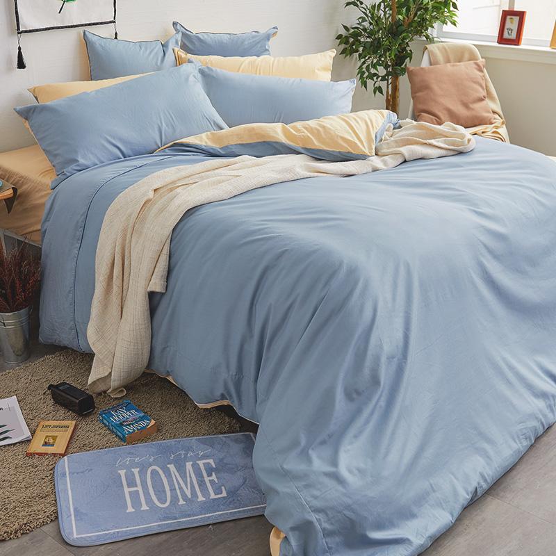 床包/雙人特大【撞色系列-日出藍】100%精梳棉雙人特大床包含兩件枕套