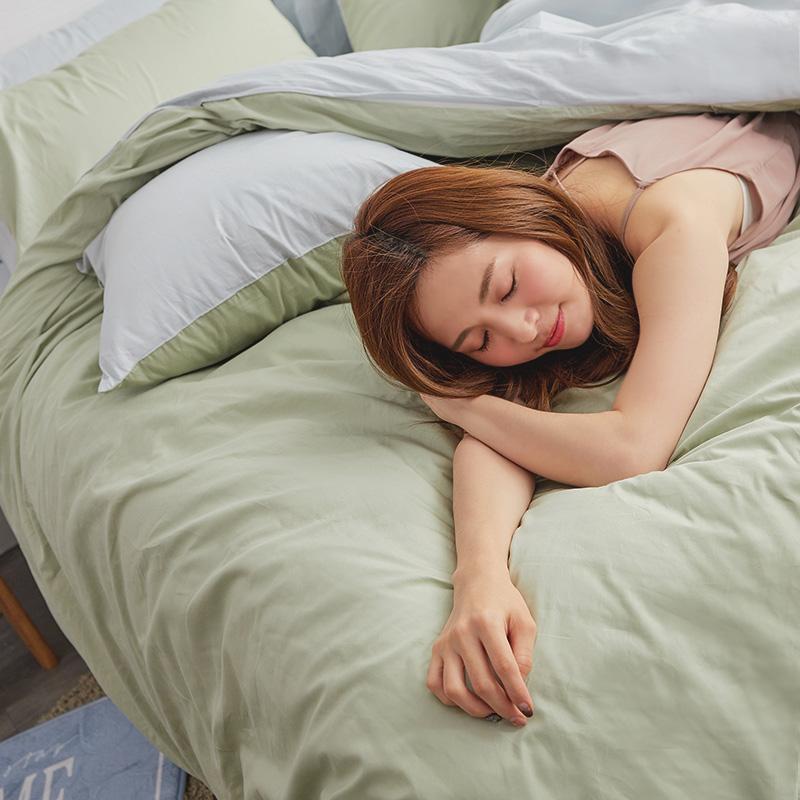 床包/雙人特大【撞色系列-清新綠】100%精梳棉雙人特大床包含兩件枕套