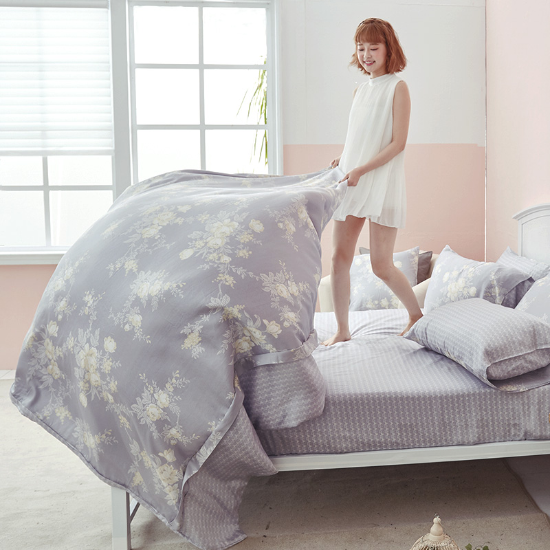 床包/雙人特大【漫花語調】60支天絲雙人特大床包含二件枕套