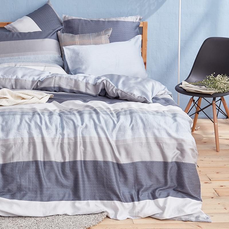 床包/雙人特大【靛藍旋律】40支天絲雙人特大床包含二件枕套