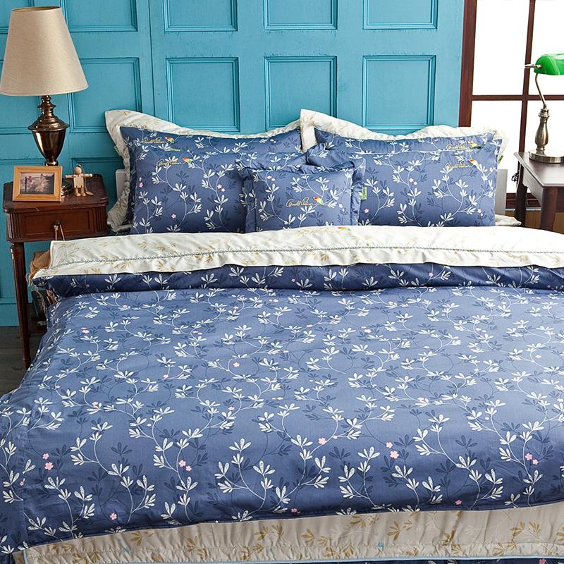 床罩組/雙人【草之詩】100%60支精梳棉雙人豪華七件式床罩組