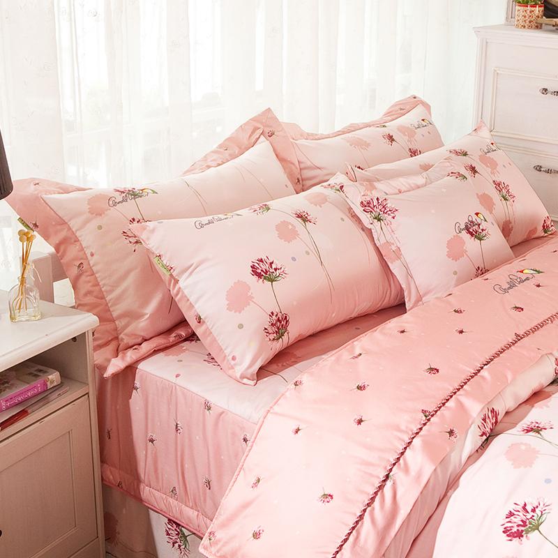 床罩組/雙人【花語夢境】100%60支精梳棉雙人豪華七件式床罩組
