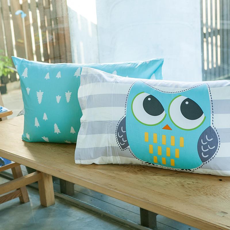 枕頭套/一入【遇見朵朵藍-森林版】100%精梳棉美式信封枕套