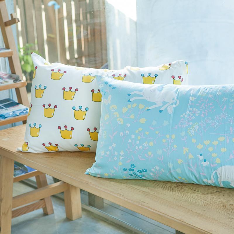 枕頭套/一入【尋找夢奇地-皇冠版藍】100%精梳棉美式信封枕套
