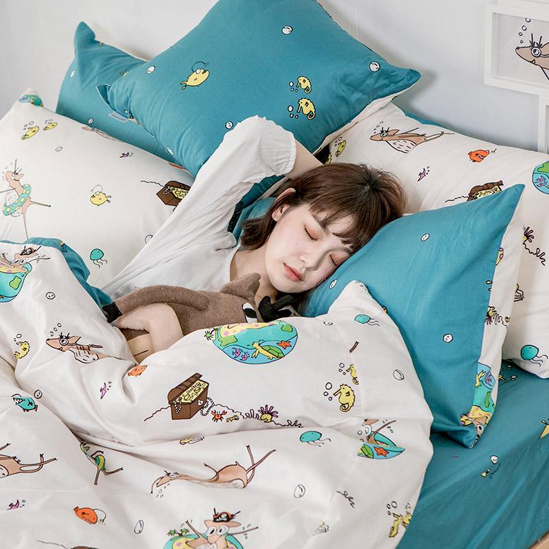 枕頭套/兩入【迷路的漂流日記】100%精梳棉美式信封枕套