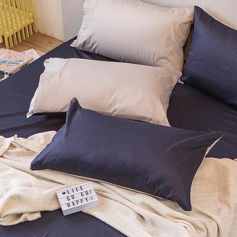 枕頭套/一入【撞色系列-紳士藍】100%精梳棉美式信封枕套
