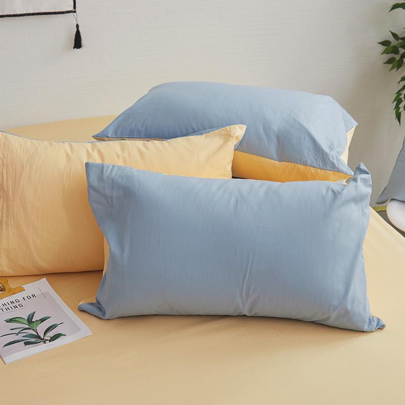 枕頭套/一入【撞色系列-日出藍】100%精梳棉美式信封枕套