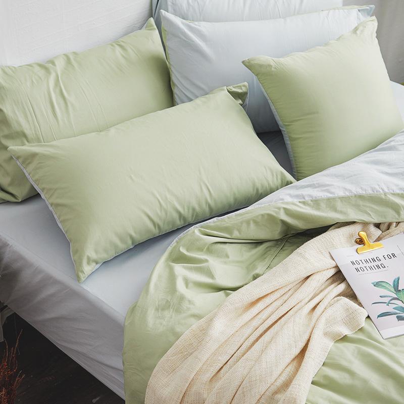 枕頭套/一入【撞色系列-清新綠】100%精梳棉美式信封枕套