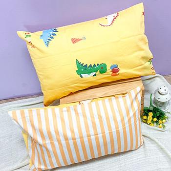 枕頭套/一入【歡樂恐龍】美式信封枕套精梳純棉
