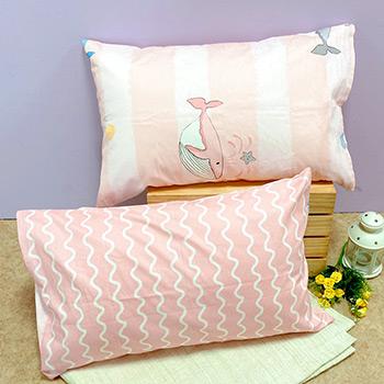 枕頭套/一入【鯨魚寶寶】美式信封枕套精梳純棉
