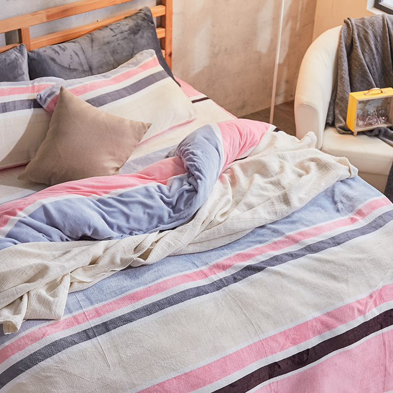 保暖法蘭絨【波麗露】雙人加大鋪棉床包被毯組